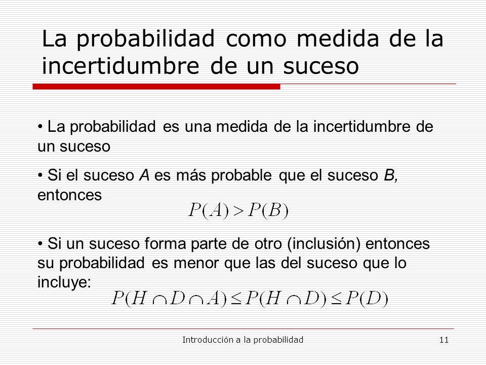 Introducción a la probabilidad11 La probabilidad como medida de la incertidumbre de un suceso La probabilidad es una medida de la incertidumbre de un