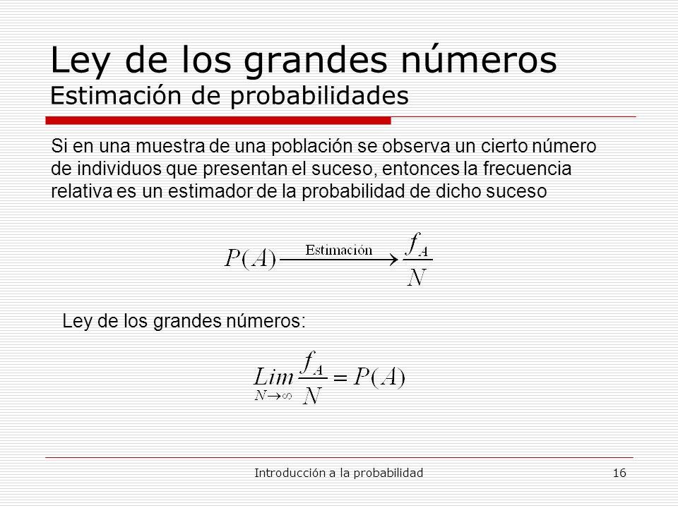 Introducción a la probabilidad16 Ley de los grandes números Estimación de probabilidades Si en una muestra de una población se observa un cierto númer