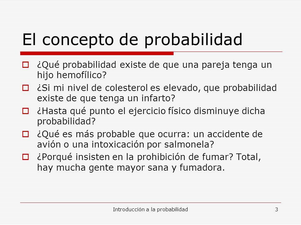 Introducción a la probabilidad14 Un ejemplo genético Álgebra de sucesos asociada a caracterizar el genotipo de un descendiente de una pareja heterocigota Partición asociada: {AA,Aa,aa} Sucesos posibles (álgebra de sucesos): Probabilidad: P(AA)=1/4 P(Aa) =1/2 P(aa) =1/4