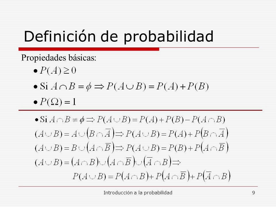 Introducción a la probabilidad9 Definición de probabilidad Propiedades básicas: