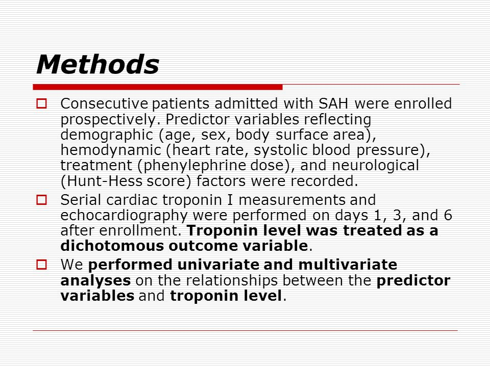 Methods Consecutive patients admitted with SAH were enrolled prospectively. Predictor variables reflecting demographic (age, sex, body surface area),