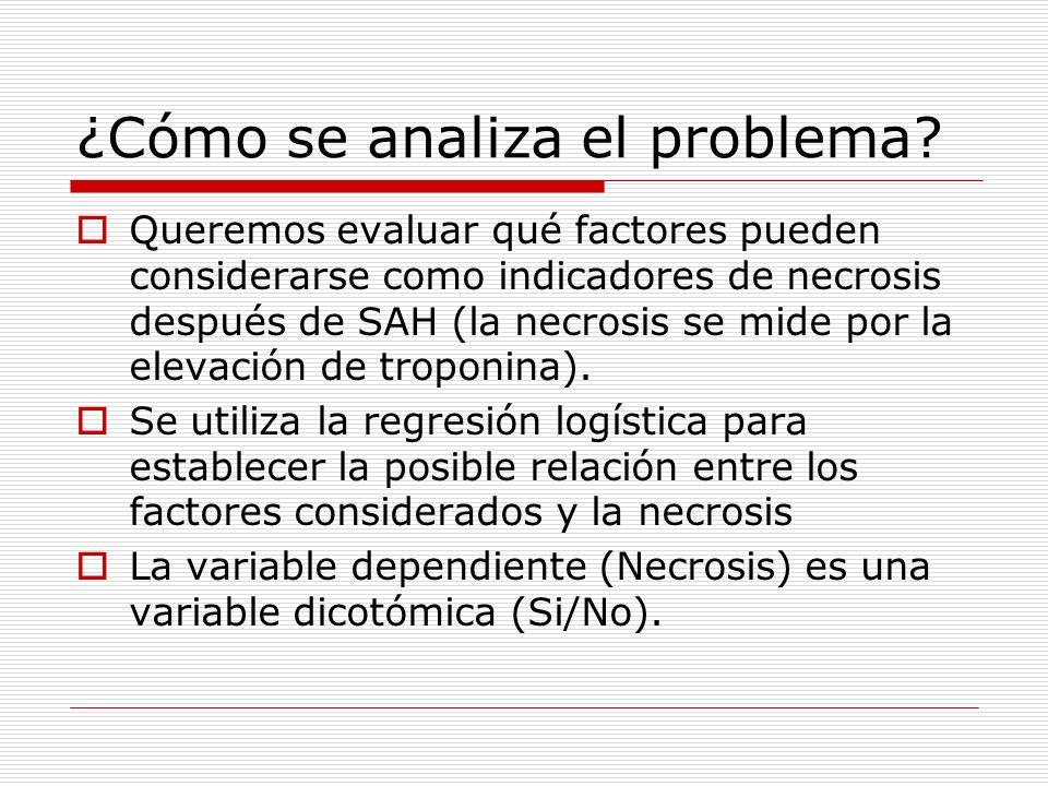 ¿Cómo se analiza el problema? Queremos evaluar qué factores pueden considerarse como indicadores de necrosis después de SAH (la necrosis se mide por l