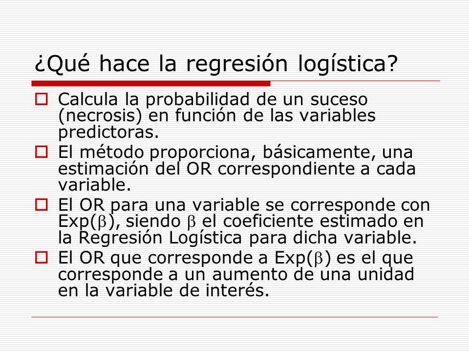 ¿Qué hace la regresión logística? Calcula la probabilidad de un suceso (necrosis) en función de las variables predictoras. El método proporciona, bási