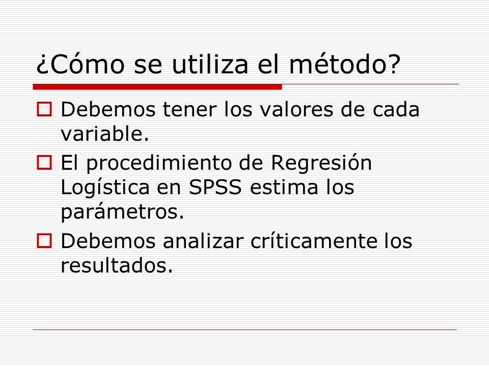 ¿Cómo se utiliza el método? Debemos tener los valores de cada variable. El procedimiento de Regresión Logística en SPSS estima los parámetros. Debemos