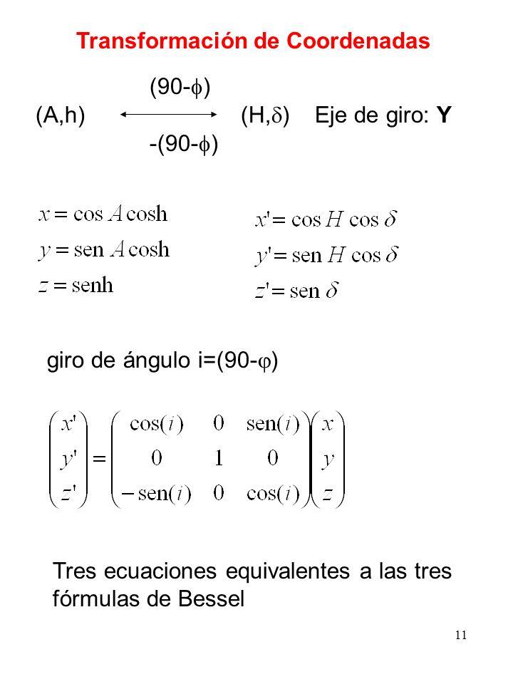 11 Transformación de Coordenadas (A,h) (H, ) (90- ) -(90- ) Eje de giro: Y giro de ángulo i=(90- ) Tres ecuaciones equivalentes a las tres fórmulas de