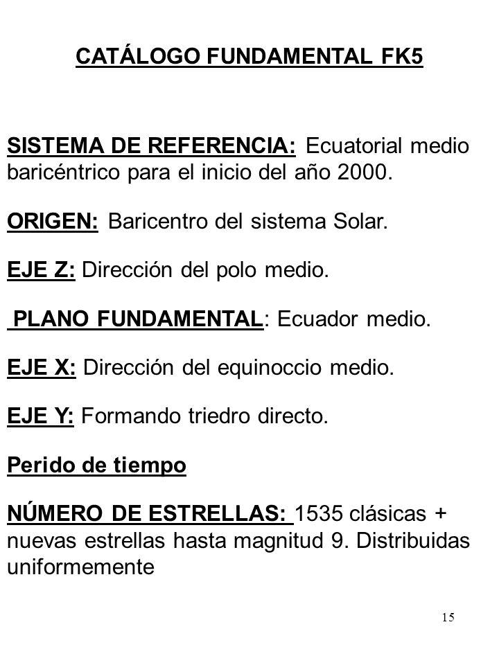 15 CATÁLOGO FUNDAMENTAL FK5 SISTEMA DE REFERENCIA: Ecuatorial medio baricéntrico para el inicio del año 2000. ORIGEN: Baricentro del sistema Solar. EJ