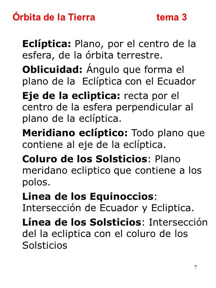 7 Eclíptica: Plano, por el centro de la esfera, de la órbita terrestre. Oblicuidad: Ángulo que forma el plano de la Eclíptica con el Ecuador Eje de la