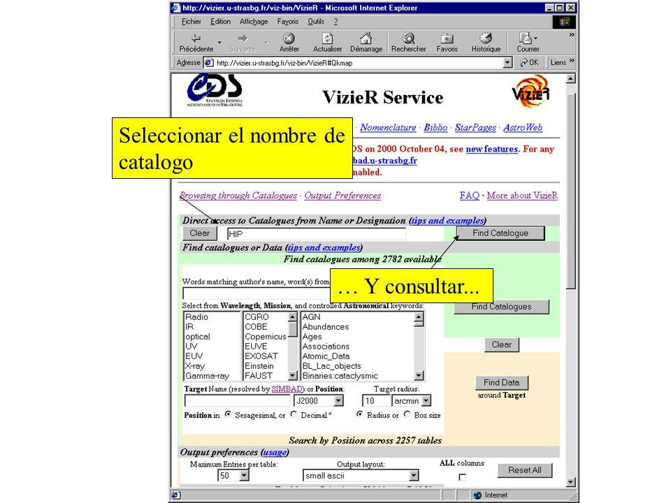 VizieR: Catalogos El VizieR service contiene 2,900 catalogos, y otras tablas de datos, accesibles de una forma homegenea para todas ellas http://vizier.u-strasbg.fr