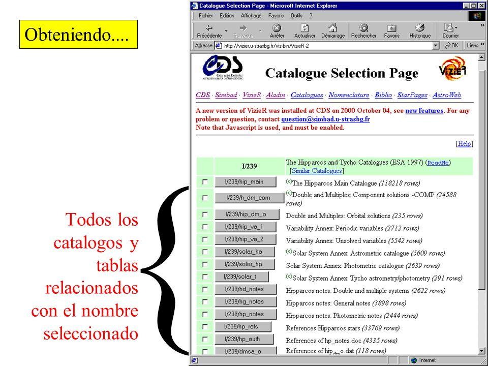 Seleccionar el nombre de catalogo … Y consultar...