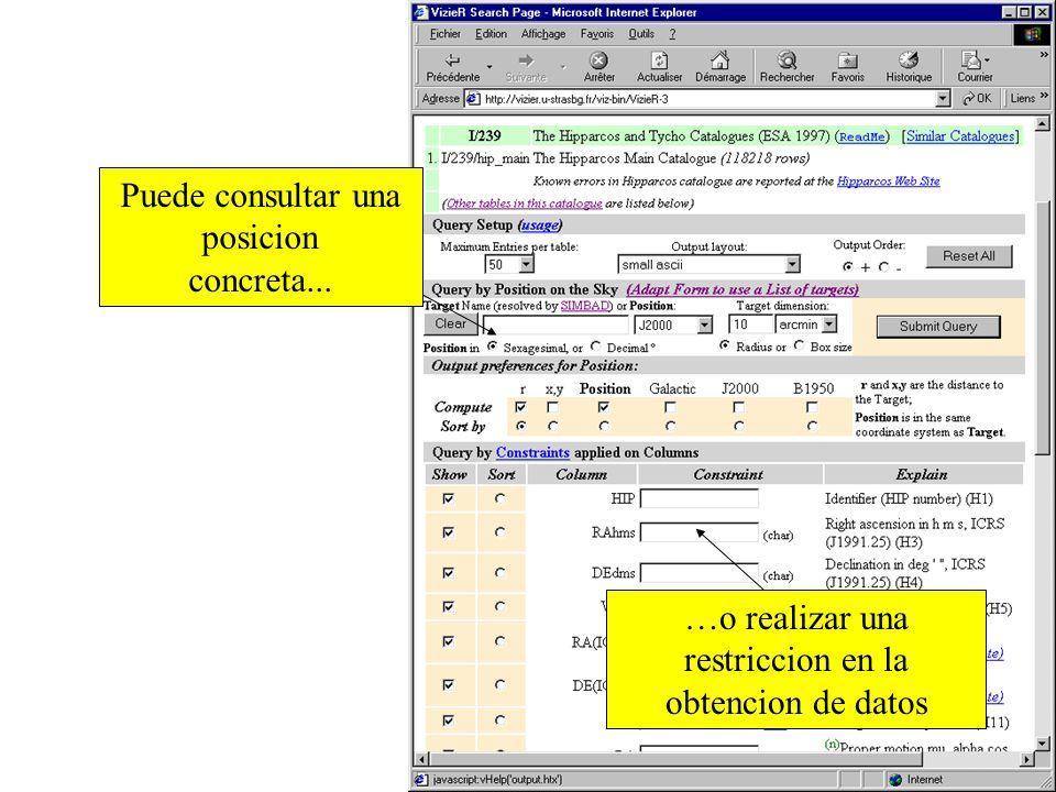 Obtenemos el formato de consulta del catalogo o tabla