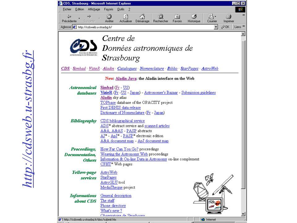 Volvemos a la pantalla principal del servicio VizieR...