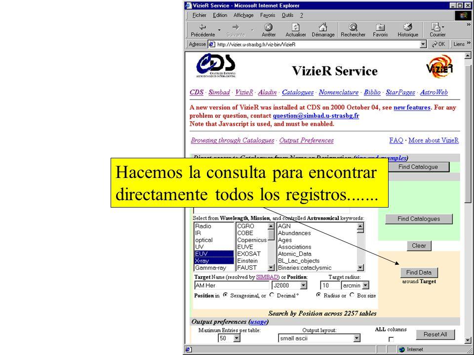 …en todos los catalogos EUV y de longitudes de onda de rayo-X..