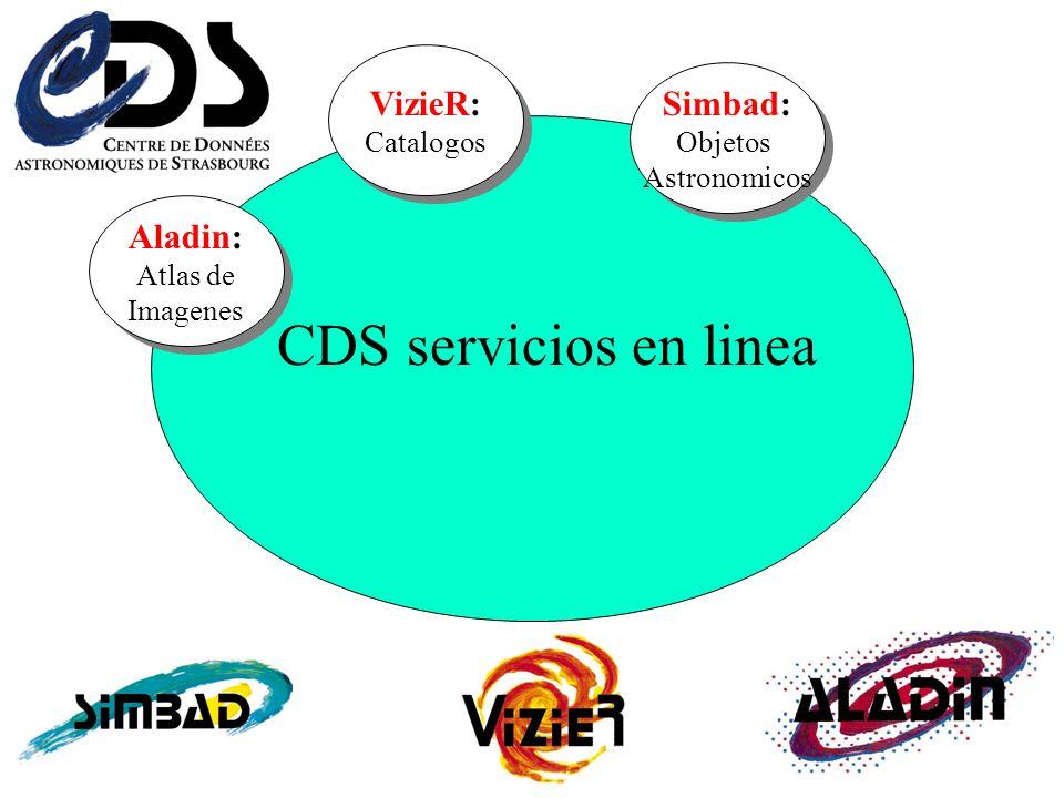 Simbad: Objetos Astronomicos VizieR: Catalogos Aladin: Atlas de Imagenes CDS servicios en linea