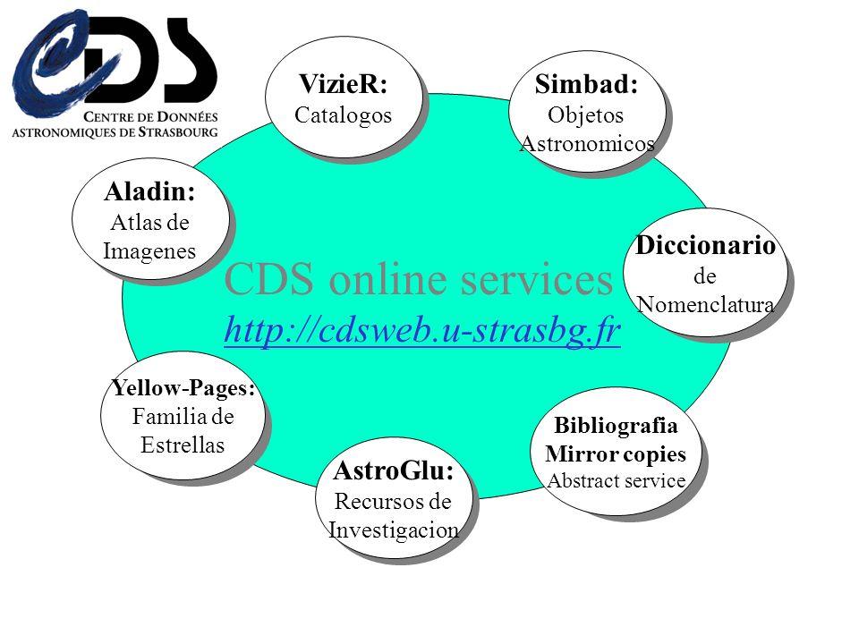 Paginas amarillas Familia de estrellas AstroWeb Diccionario de nomenclatura Bibliografia Mirror copies Abstract service AstroGlu: Recursos de Investigacion CDS servicios en linea