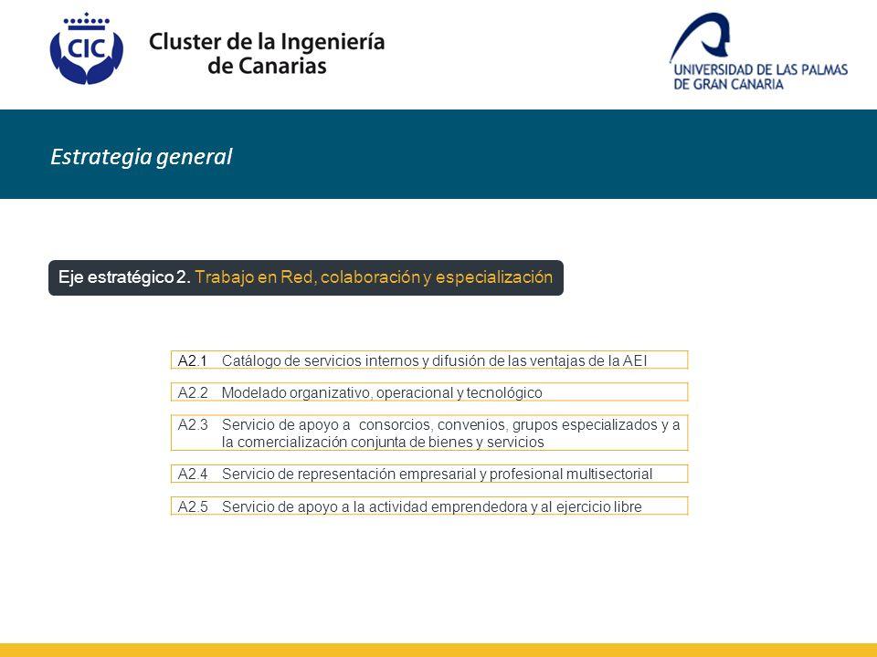 Estrategia general Eje estratégico 2. Trabajo en Red, colaboración y especialización A2.1Catálogo de servicios internos y difusión de las ventajas de