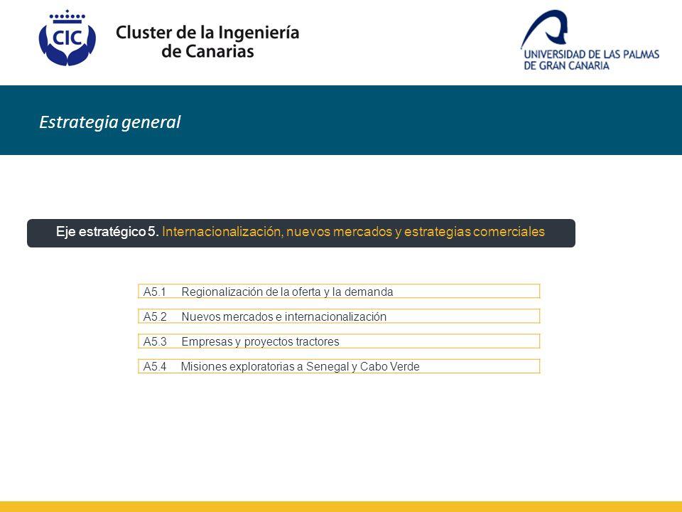 Estrategia general A5.1Regionalización de la oferta y la demanda A5.2Nuevos mercados e internacionalización A5.3Empresas y proyectos tractores A5.4Mis