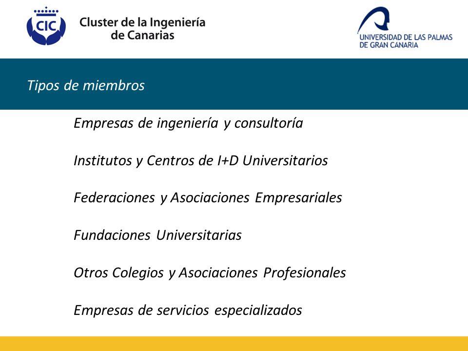 Tipos de miembros Empresas de ingeniería y consultoría Institutos y Centros de I+D Universitarios Federaciones y Asociaciones Empresariales Fundacione