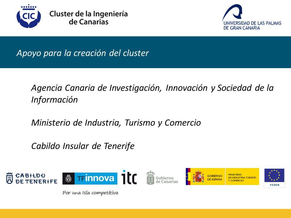 Apoyo para la creación del cluster Agencia Canaria de Investigación, Innovación y Sociedad de la Información Ministerio de Industria, Turismo y Comerc