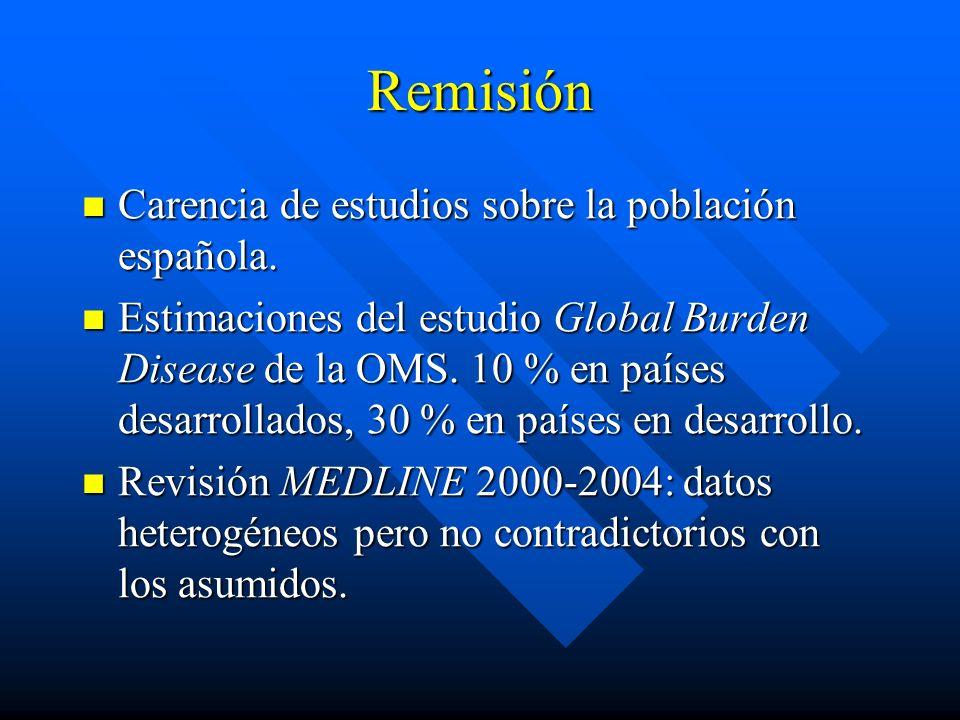 Remisión Carencia de estudios sobre la población española. Carencia de estudios sobre la población española. Estimaciones del estudio Global Burden Di