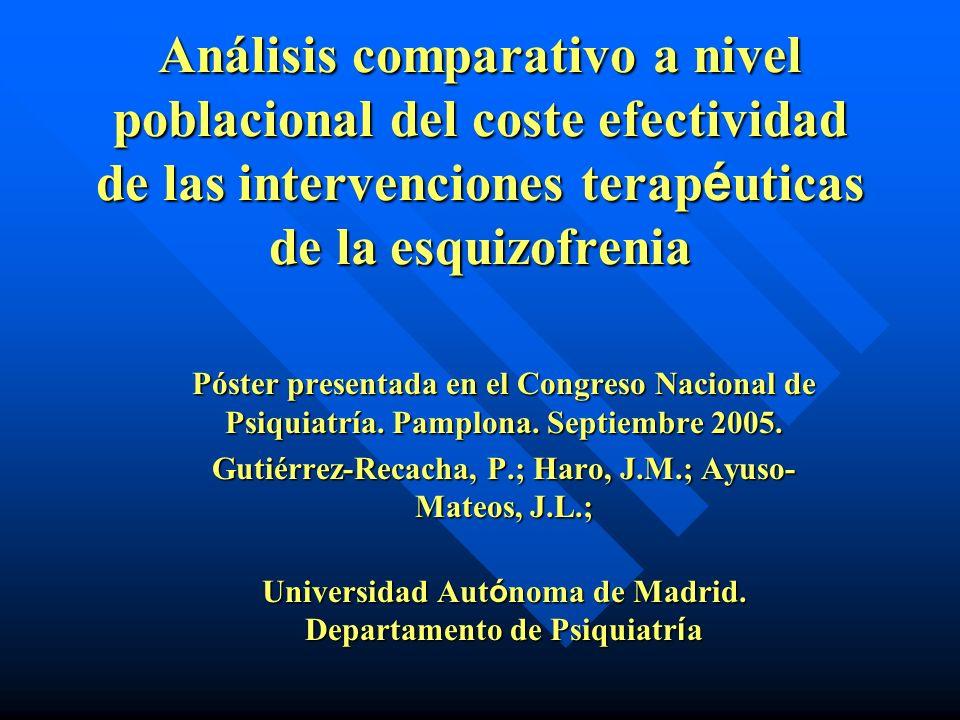 Análisis comparativo a nivel poblacional del coste efectividad de las intervenciones terap é uticas de la esquizofrenia Póster presentada en el Congre