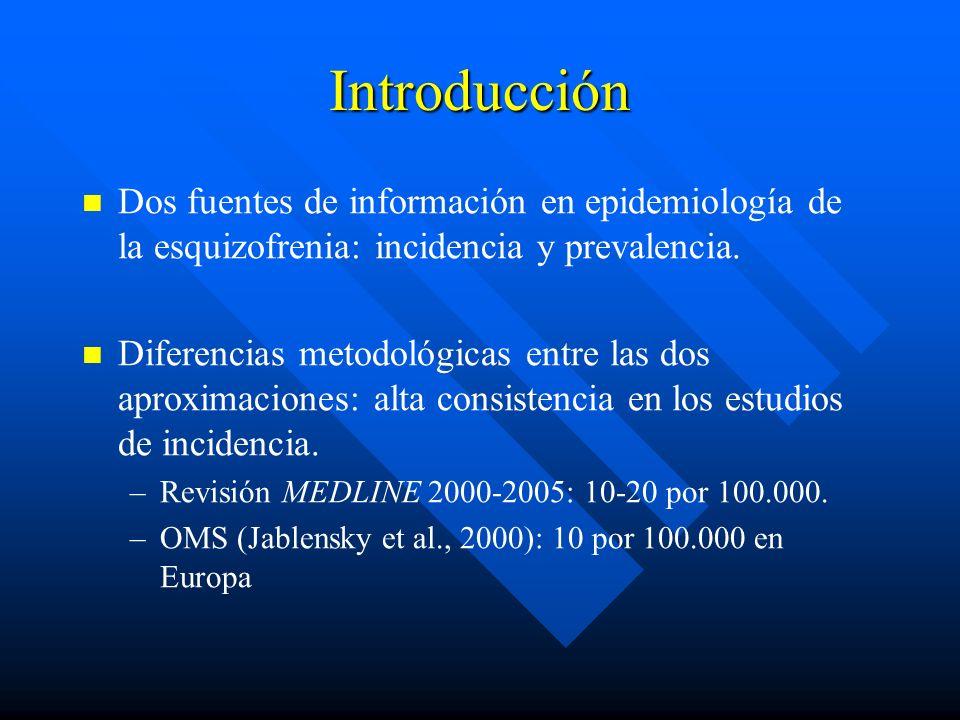 Introducción Dos fuentes de información en epidemiología de la esquizofrenia: incidencia y prevalencia. Diferencias metodológicas entre las dos aproxi
