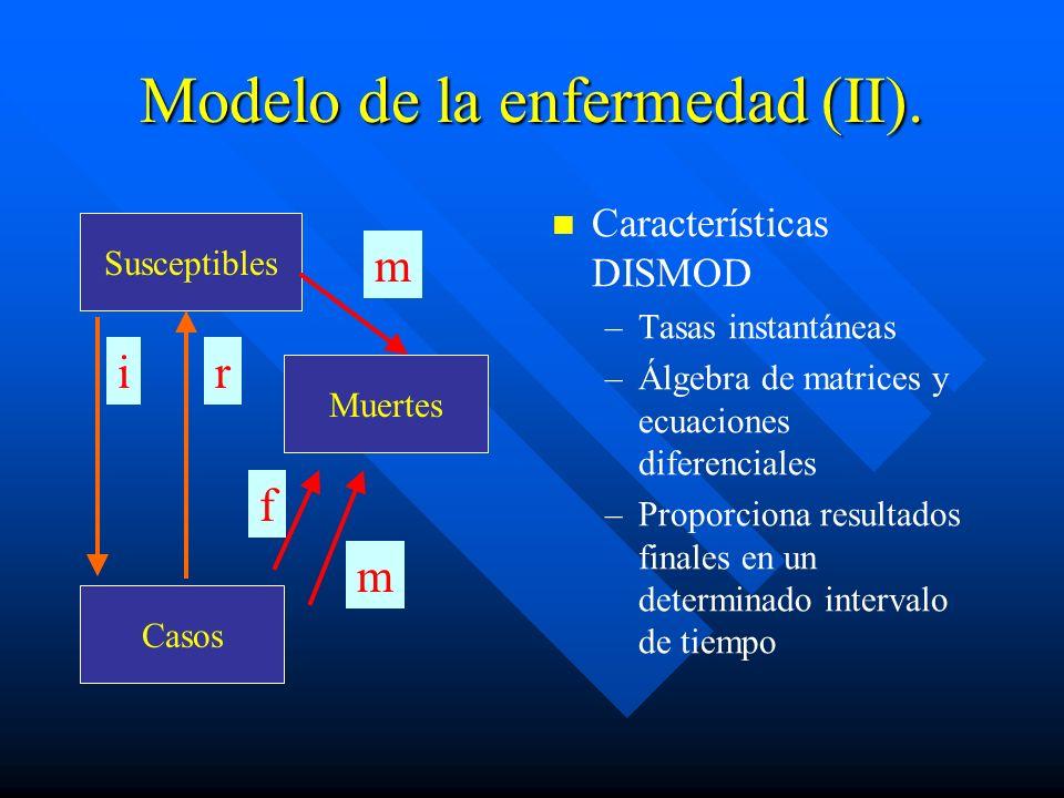 Modelo de la enfermedad (II). Características DISMOD –Tasas instantáneas –Álgebra de matrices y ecuaciones diferenciales –Proporciona resultados final