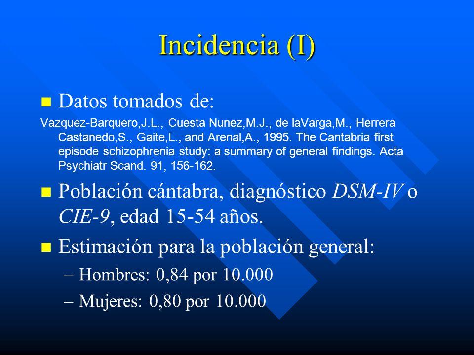 Incidencia (I) Datos tomados de: Vazquez-Barquero,J.L., Cuesta Nunez,M.J., de laVarga,M., Herrera Castanedo,S., Gaite,L., and Arenal,A., 1995. The Can