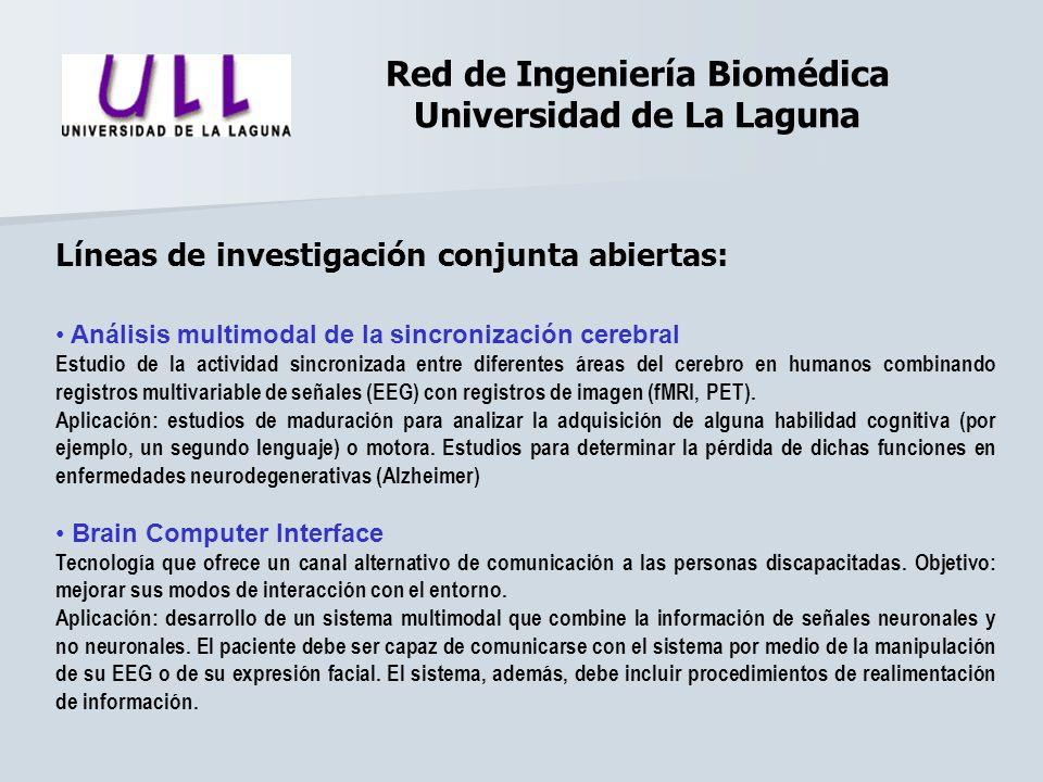 Red de Ingeniería Biomédica Universidad de La Laguna Líneas de investigación conjunta abiertas: Análisis multimodal de la sincronización cerebral Estu