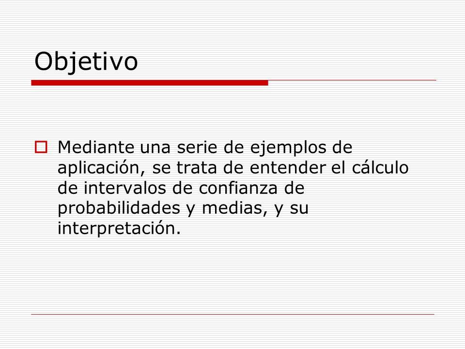 Objetivo Mediante una serie de ejemplos de aplicación, se trata de entender el cálculo de intervalos de confianza de probabilidades y medias, y su int