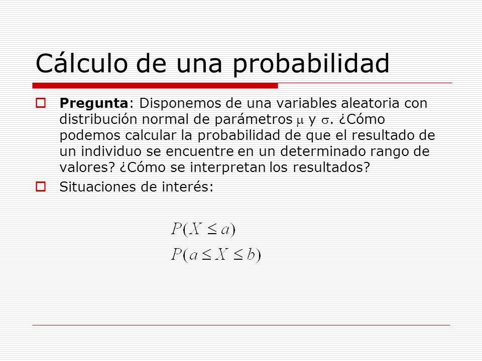 Cálculo de una probabilidad Pregunta: Disponemos de una variables aleatoria con distribución normal de parámetros y. ¿Cómo podemos calcular la probabi