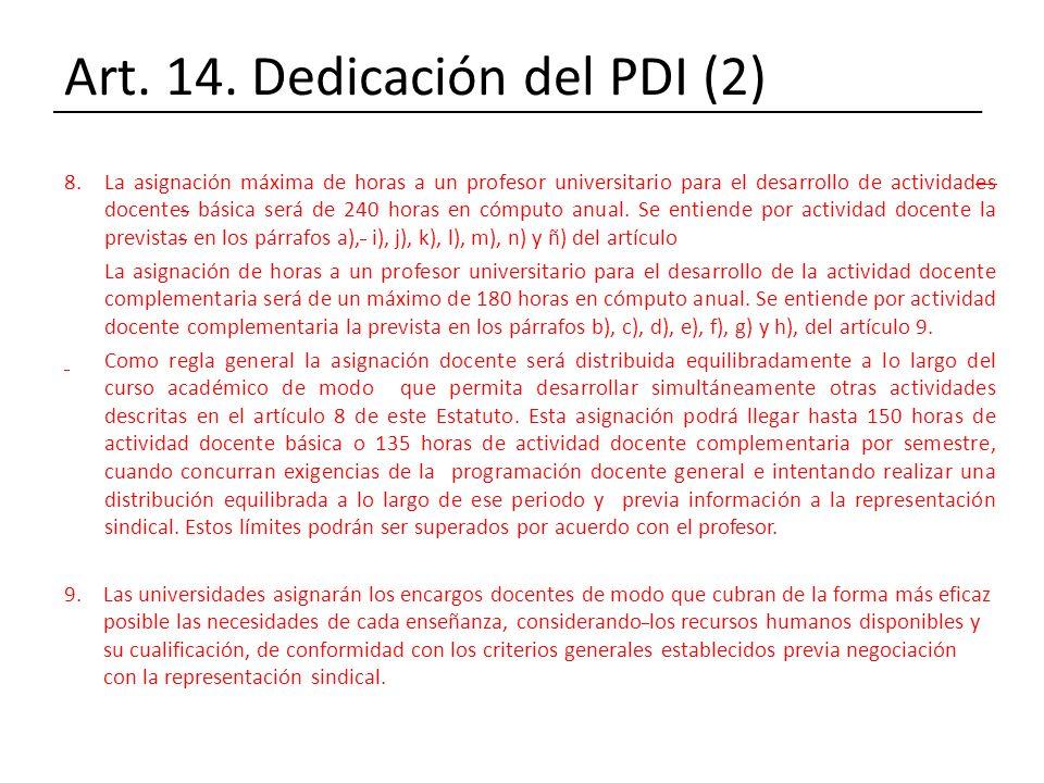 Art. 14. Dedicación del PDI (2) 8.La asignación máxima de horas a un profesor universitario para el desarrollo de actividades docentes básica será de