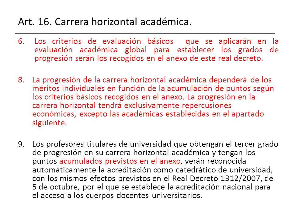Art. 16. Carrera horizontal académica. 6.Los criterios de evaluación básicos que se aplicarán en la evaluación académica global para establecer los gr