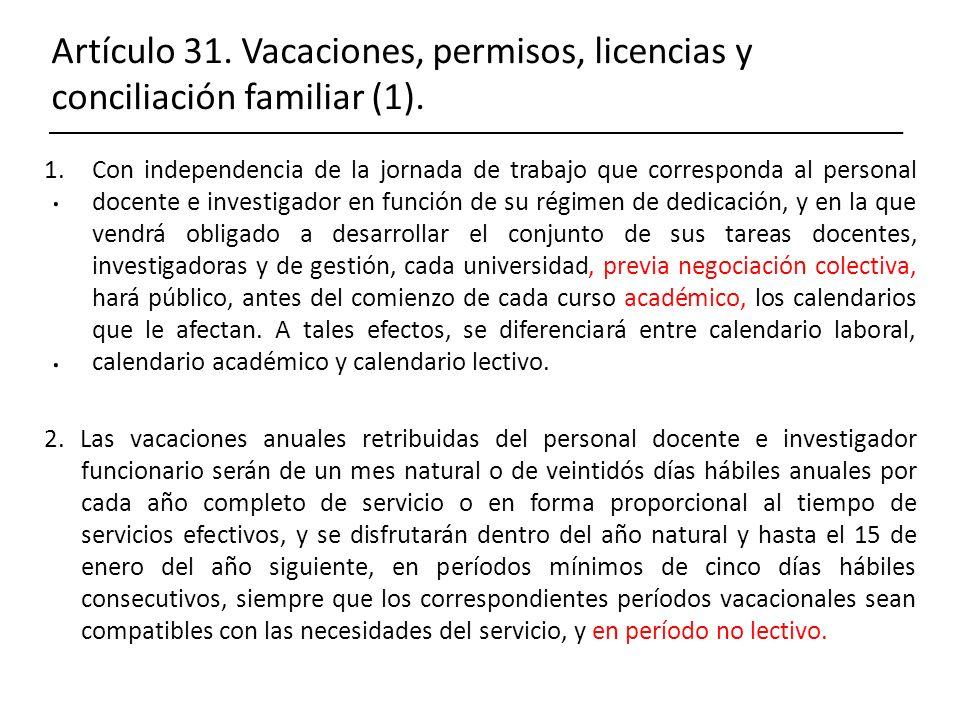 Artículo 31. Vacaciones, permisos, licencias y conciliación familiar (1)... 1.Con independencia de la jornada de trabajo que corresponda al personal d