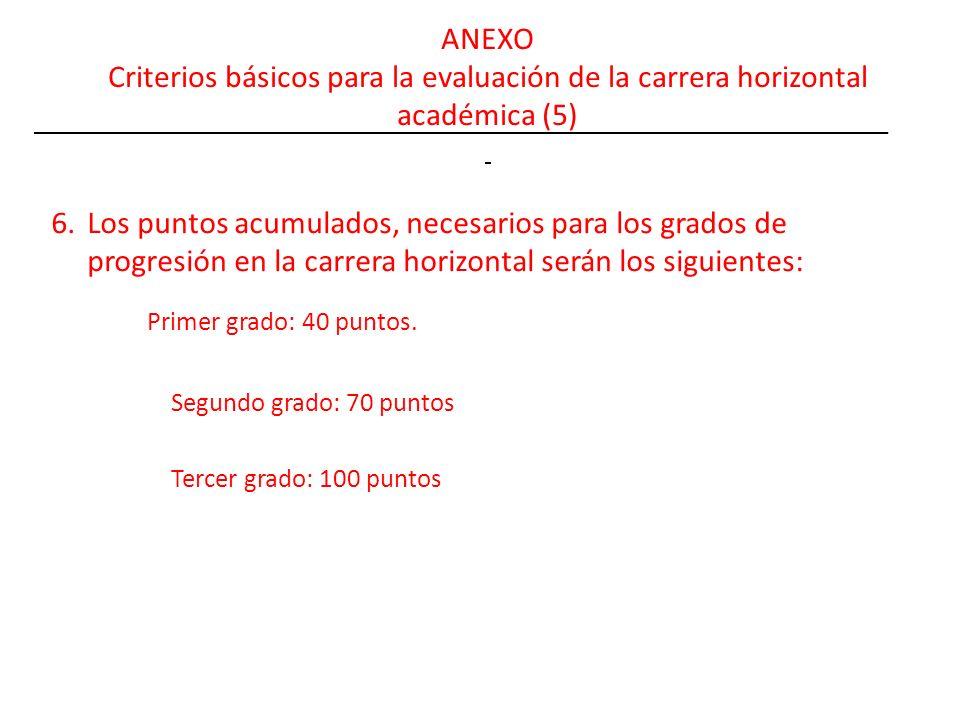 ANEXO Criterios básicos para la evaluación de la carrera horizontal académica (5) 6.Los puntos acumulados, necesarios para los grados de progresión en