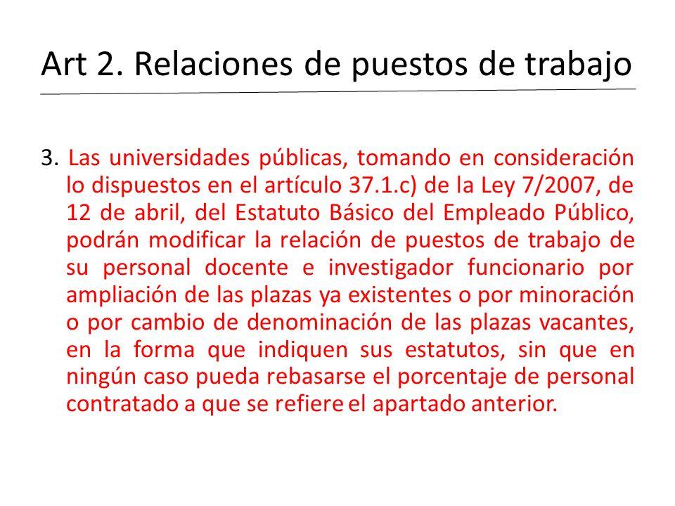Art 2. Relaciones de puestos de trabajo 3. Las universidades públicas, tomando en consideración lo dispuestos en el artículo 37.1.c) de la Ley 7/2007,