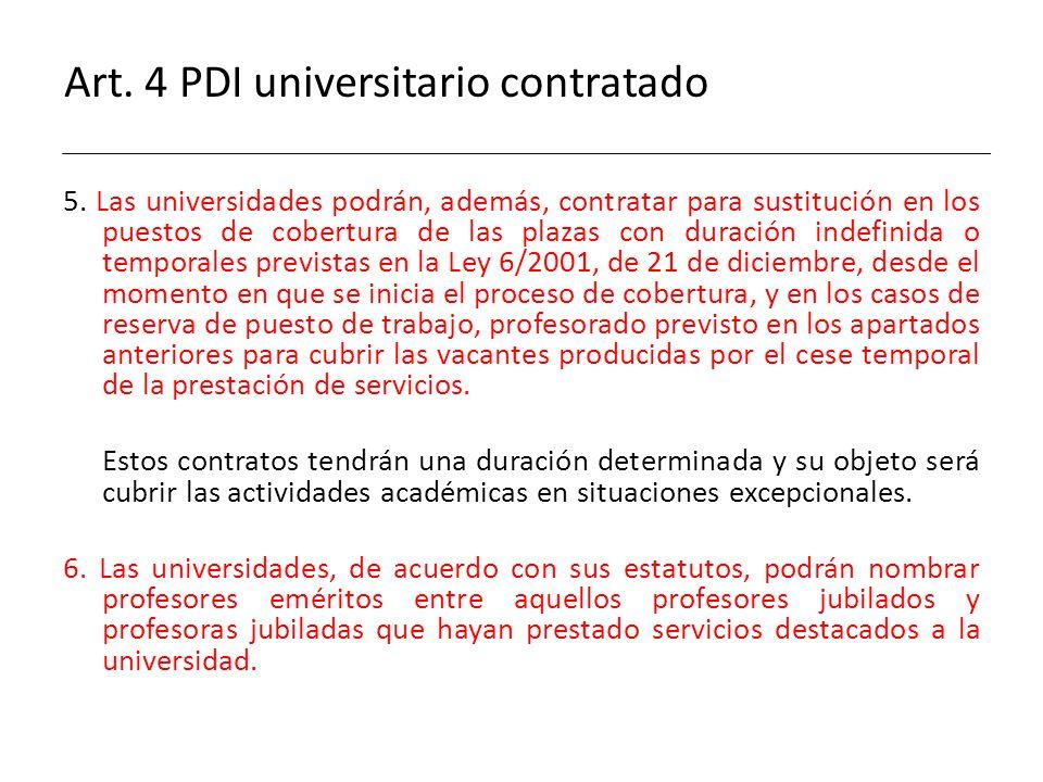 Art. 4 PDI universitario contratado 5. Las universidades podrán, además, contratar para sustitución en los puestos de cobertura de las plazas con dura