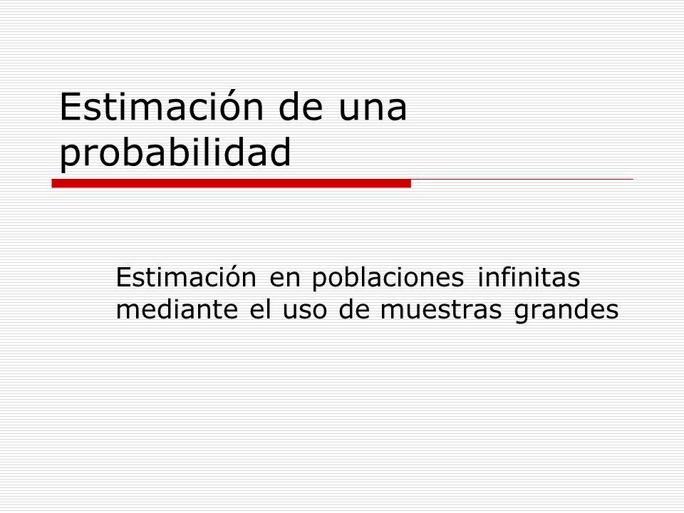 Estimación de una probabilidad Estimación en poblaciones infinitas mediante el uso de muestras grandes