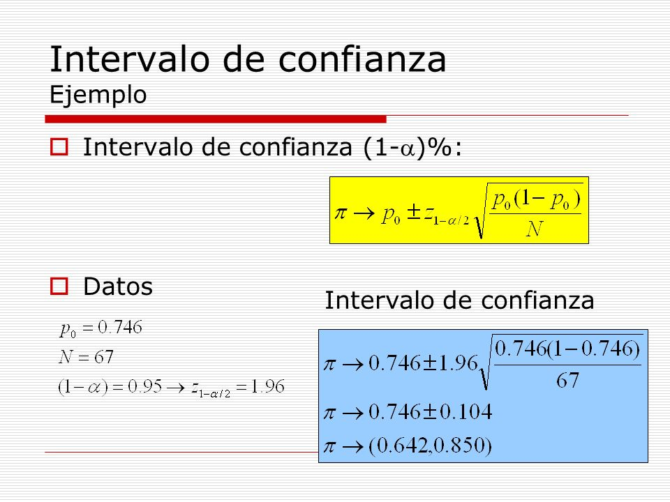 Interpretación Con un 95% de confianza, el intervalo (0.642, 0.850) contiene el verdadero valor de la probabilidad del suceso estudiado