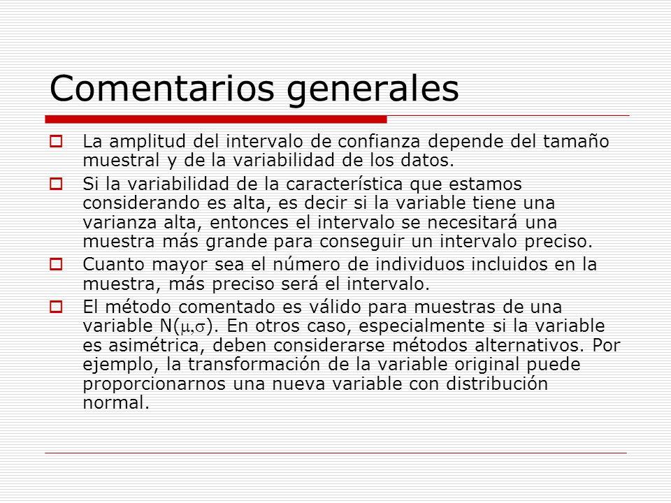 Comentarios generales La amplitud del intervalo de confianza depende del tamaño muestral y de la variabilidad de los datos. Si la variabilidad de la c