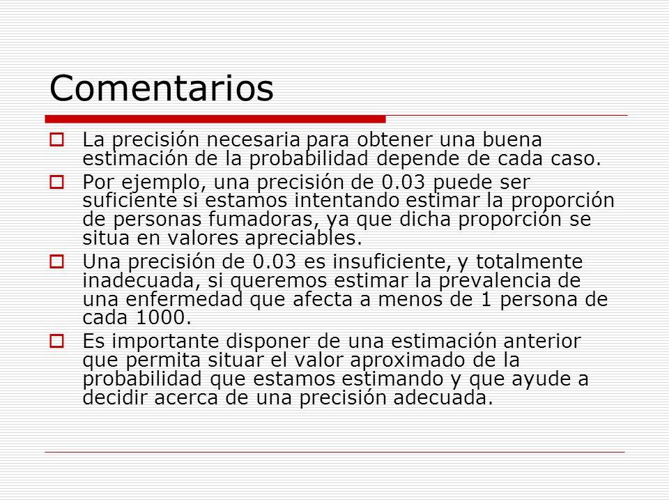 Comentarios La precisión necesaria para obtener una buena estimación de la probabilidad depende de cada caso. Por ejemplo, una precisión de 0.03 puede