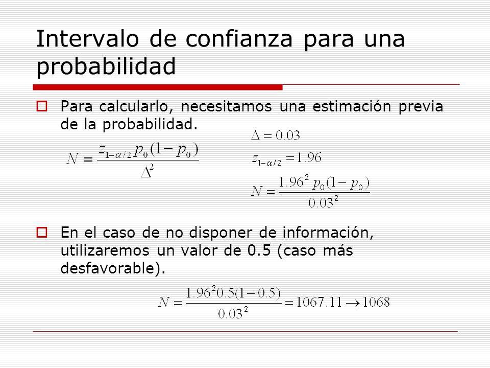 Intervalo de confianza para una probabilidad Para calcularlo, necesitamos una estimación previa de la probabilidad. En el caso de no disponer de infor
