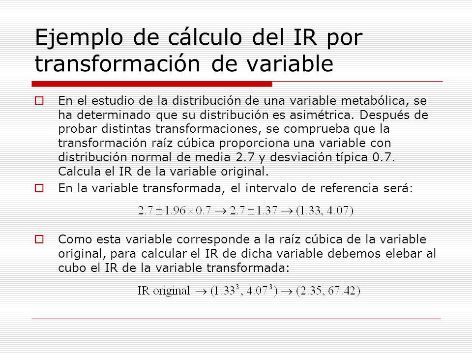 Ejemplo de cálculo del IR por transformación de variable En el estudio de la distribución de una variable metabólica, se ha determinado que su distrib