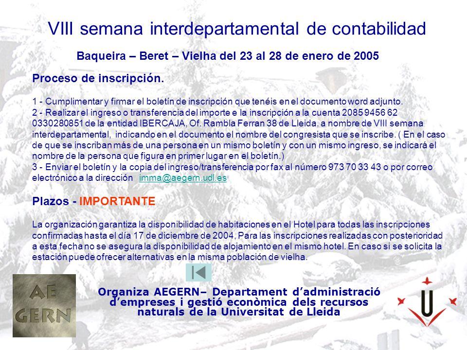 VIII semana interdepartamental de contabilidad Organiza AEGERN– Departament dadministració dempreses i gestió econòmica dels recursos naturals de la Universitat de Lleida Baqueira – Beret – Vielha del 23 al 28 de enero de 2005 Proceso de inscripción.