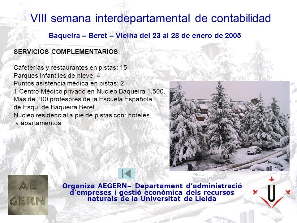 VIII semana interdepartamental de contabilidad Organiza AEGERN– Departament dadministració dempreses i gestió econòmica dels recursos naturals de la Universitat de Lleida Baqueira – Beret – Vielha del 23 al 28 de enero de 2005 SERVICIOS COMPLEMENTARIOS Cafeterías y restaurantes en pistas: 15 Parques infantiles de nieve: 4 Puntos asistencia médica en pistas: 2 1 Centro Médico privado en Núcleo Baqueira 1.500.