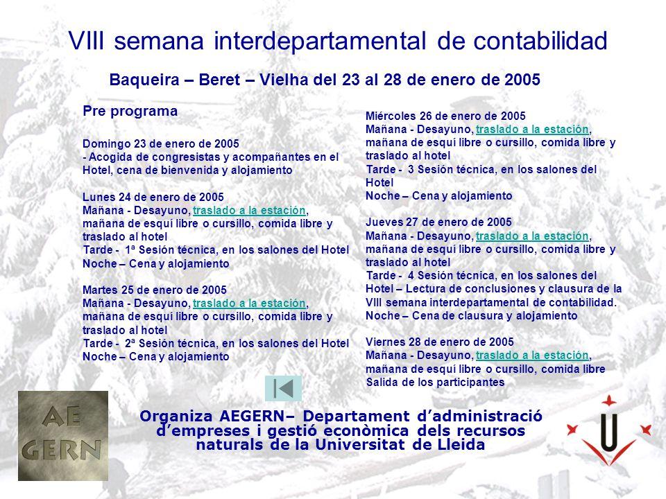 VIII semana interdepartamental de contabilidad Organiza AEGERN– Departament dadministració dempreses i gestió econòmica dels recursos naturals de la Universitat de Lleida Baqueira – Beret – Vielha del 23 al 28 de enero de 2005 Datos del hotel C/Aneto de Vielha 25530 Vielha - Valle de Arán ( ESPAÑA ) Tf.
