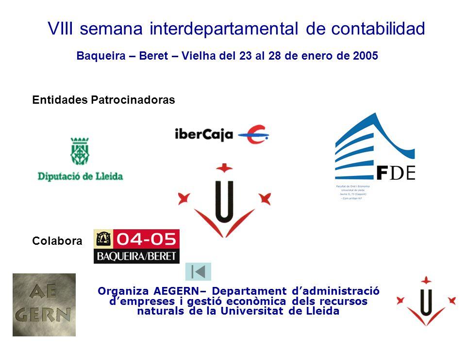 VIII semana interdepartamental de contabilidad Organiza AEGERN– Departament dadministració dempreses i gestió econòmica dels recursos naturals de la Universitat de Lleida Baqueira – Beret – Vielha del 23 al 28 de enero de 2005 Entidades Patrocinadoras Colabora