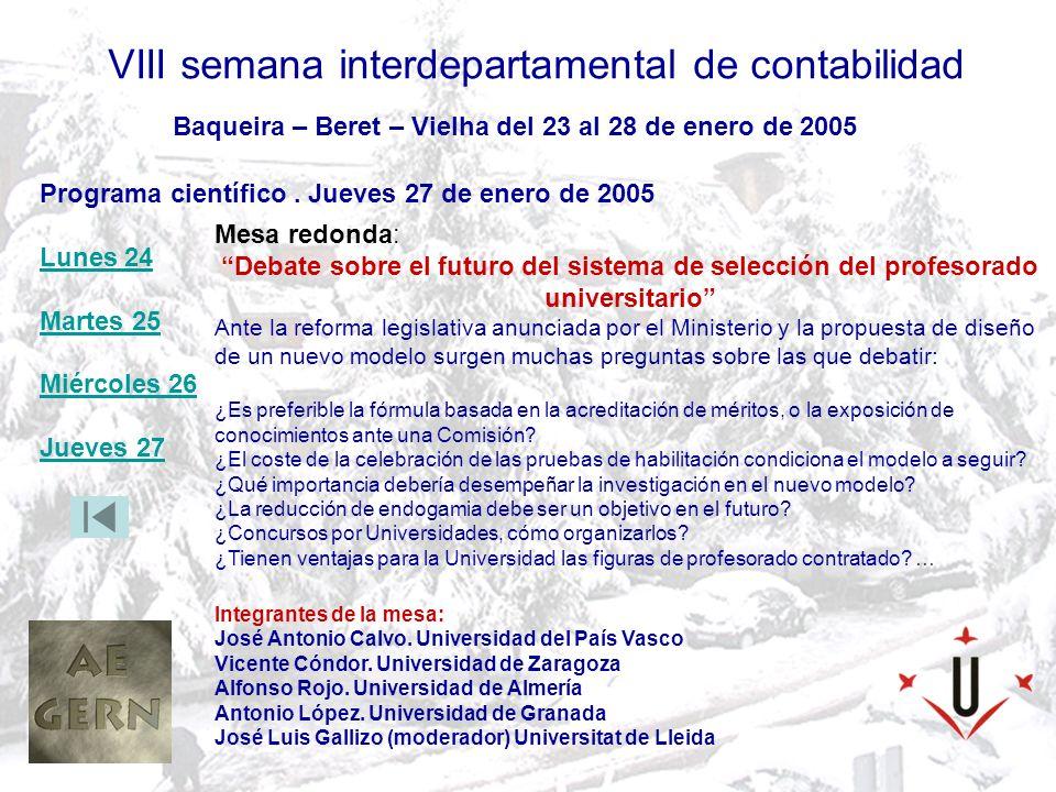 VIII semana interdepartamental de contabilidad Organiza AEGERN– Departament dadministració dempreses i gestió econòmica dels recursos naturals de la Universitat de Lleida Baqueira – Beret – Vielha del 23 al 28 de enero de 2005 EQUIPAMIENTOS Total Remontes: 31 Telesillas: 20 (2 x 6 plazas, 6 x 4 plazas, 7 x 3 plazas, 5 x 2 plazas) Telesquís: 11 (6 telesquís,4 cintas transportadoras y 1 telecorda) Capacidad transporte: 47.462 personas/hora Locales de alquiler y reparación de esquís: 4 Maquinas para preparación pistas: 15