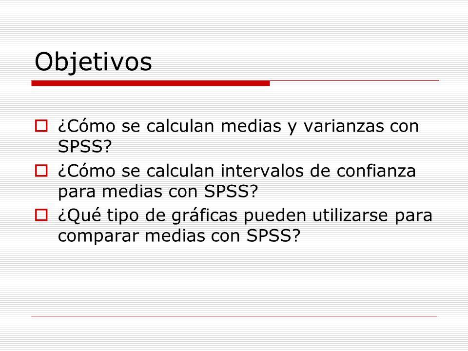 Objetivos ¿Cómo se calculan medias y varianzas con SPSS? ¿Cómo se calculan intervalos de confianza para medias con SPSS? ¿Qué tipo de gráficas pueden