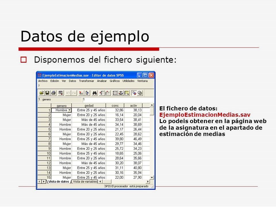 Datos de ejemplo Disponemos del fichero siguiente: El fichero de datos: EjemploEstimacionMedias.sav Lo podeis obtener en la página web de la asignatur