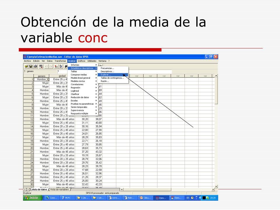 Obtención de la media de la variable conc